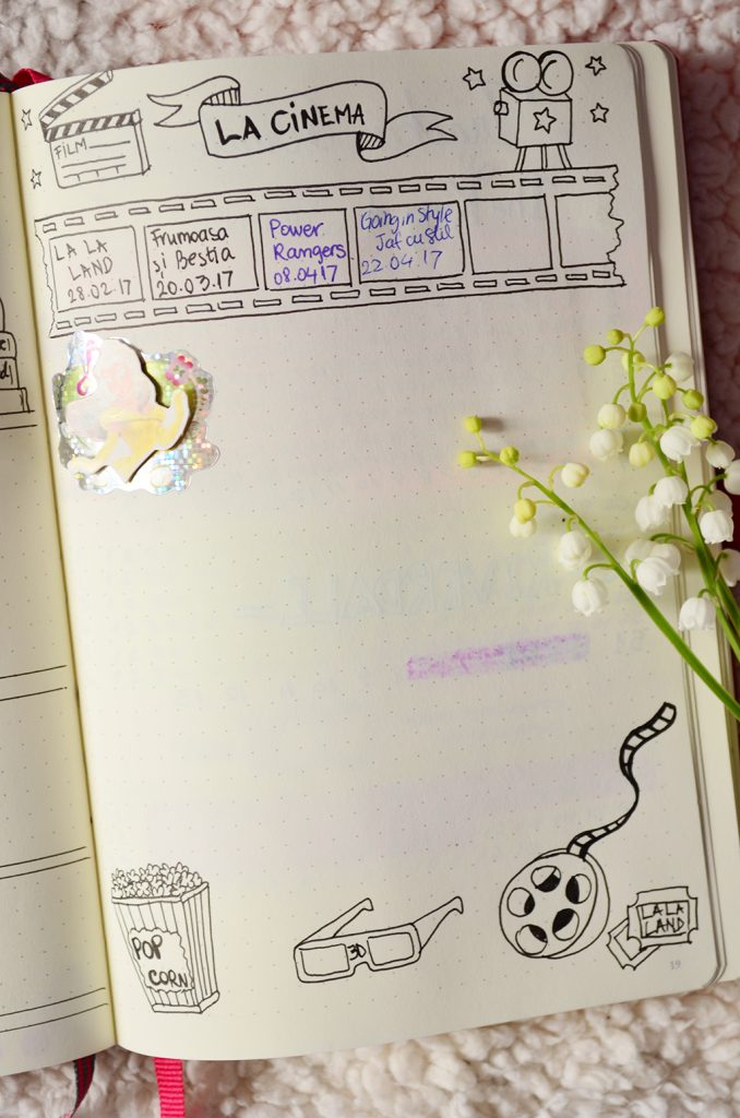 bullet journal bujo leuchtturm1917 luna aprilie la cinema movies
