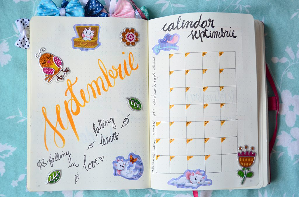 bullet journal bujo septembrie september spread calendar