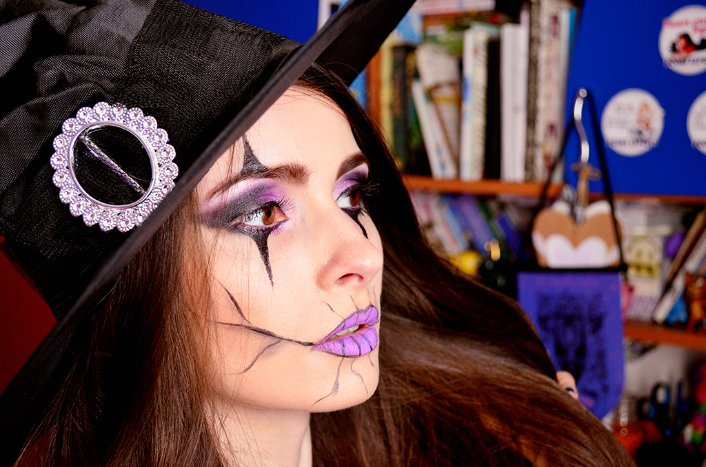 halloween makeup witch purple