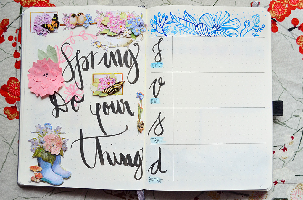bullet journal bujo march martie spread habit tracker