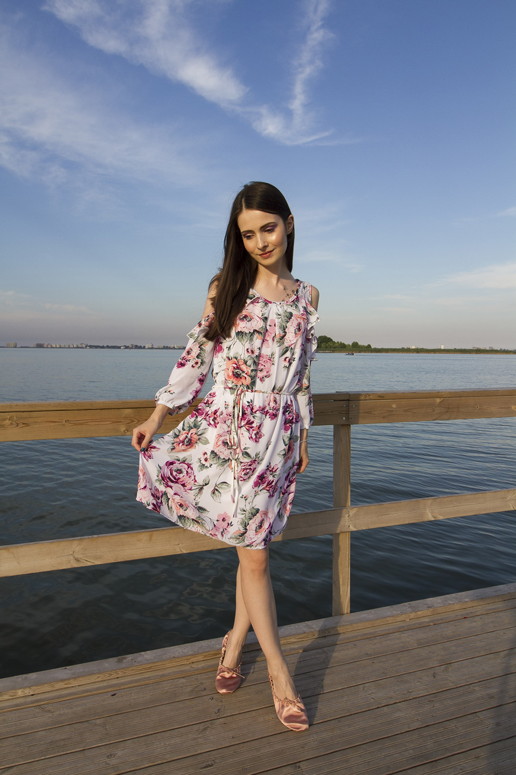 ami club wear flower print dress summer