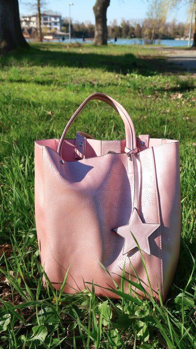 outfit primavara sacou roz geanta roz stele bonprix
