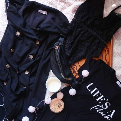 femme luxe black outfit tshirt button dress bum bag lace body