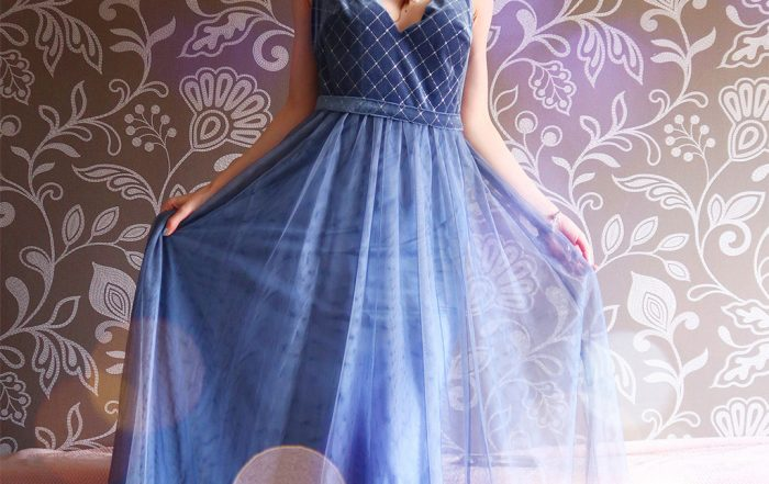 ever pretty blue dusty navy evening dress rochie albastra magica seara pentru un look de printesa