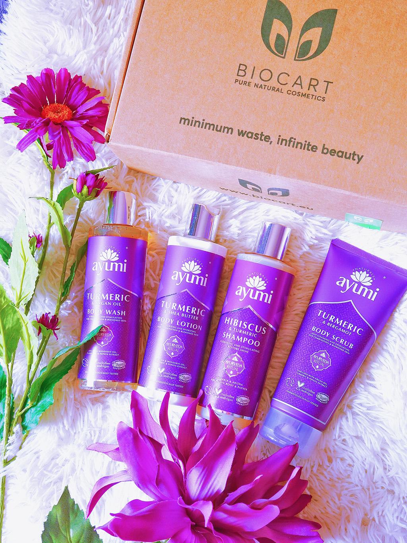 biocart ayumi hibiscus turmenic argan oil shea butter shampoo shower gel dus scrub