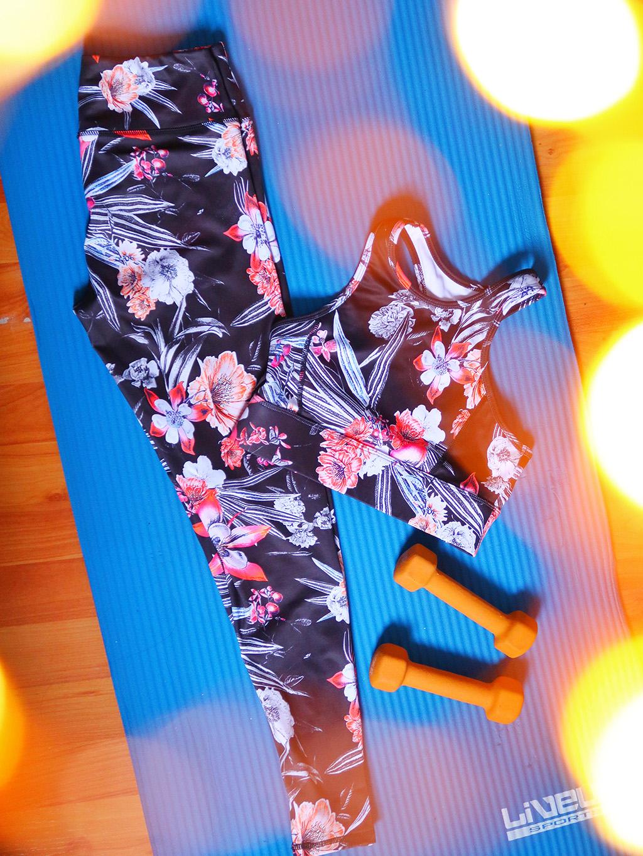 echipament floral pentru exercitii ever pretty fitness set loungewear