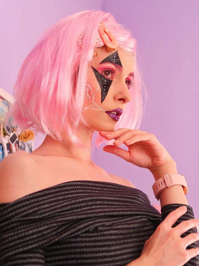 machiaj halloween makeup pink black roz negru