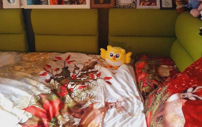 decorarea dormitorului pentru sarbatorile de iarna cu lenjerii de pat tematice