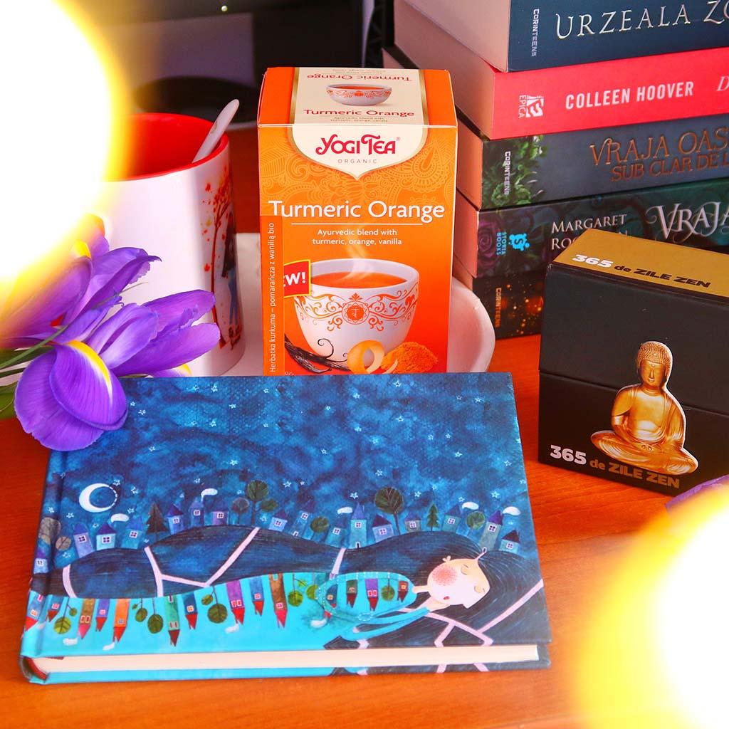 libris rutina unei zile zen in 3 pasi carte ceai yogi tea turmenic orange citate agenda gutenberg books