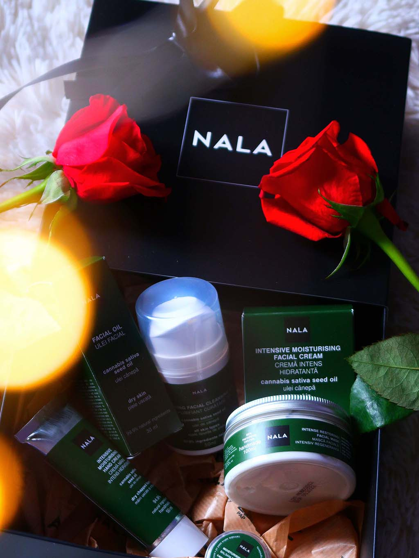 rutina ingrijire piele ten uscat gama produse canabis ulei canepa nala crema maini masca cleanser balsam buze