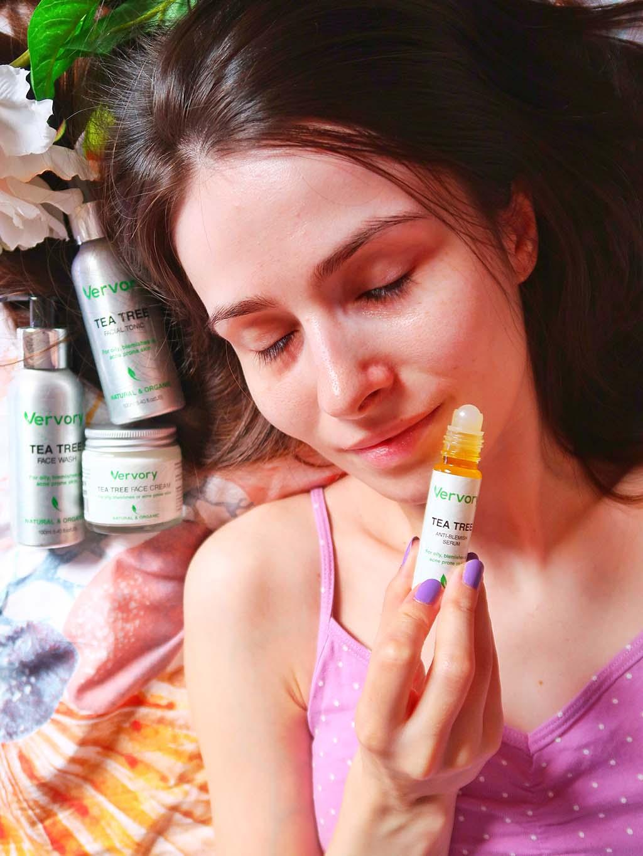 vervory tratament acnee kit tea tree face wash tonic toner crema serum - 01
