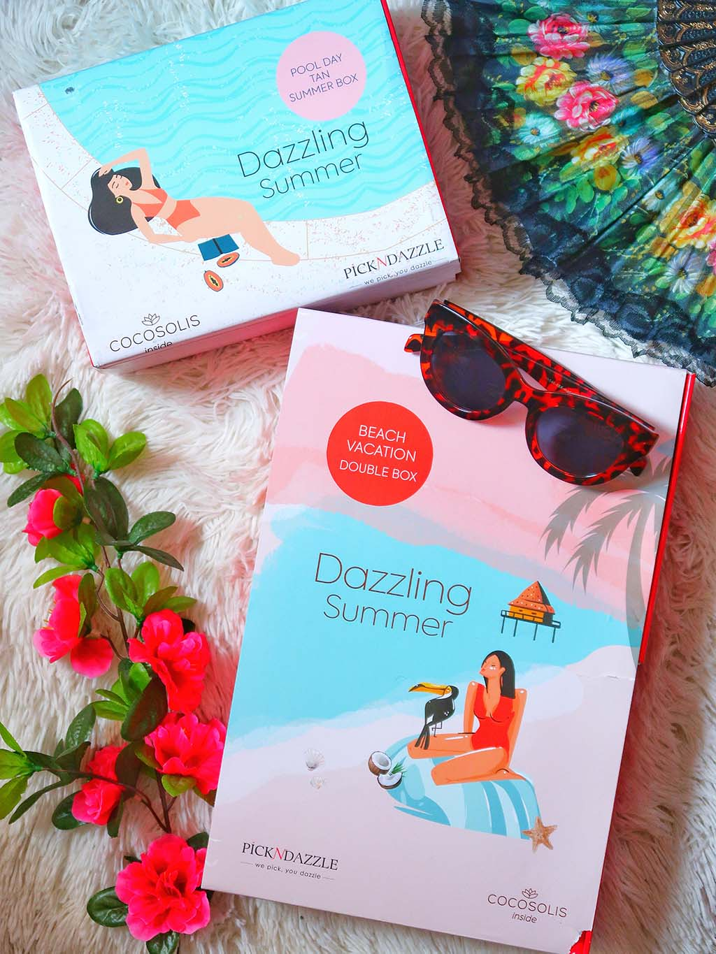 unboxing pick n dazzling summer beauty boxes cutii cutie frumusete pool day beac vacantion double box